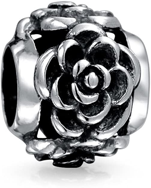 Silver Rose Flowers Pandora Bead
