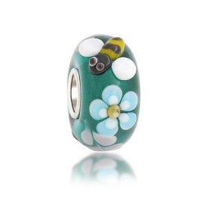 Silver Teal Bumblebee Flower Pandora Glass Charm