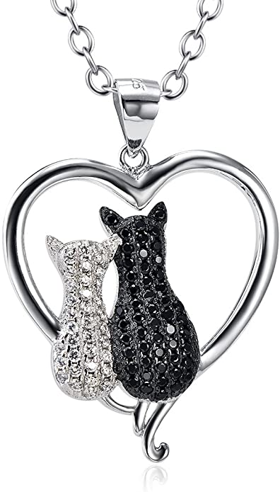 Sterling Silver Diamond Cat Pendant Charm