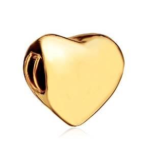 Valentines Day Golden Heart Pandora Bead