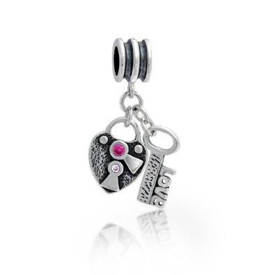 White CZ Heart Key Pandora Bead