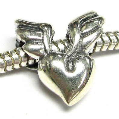 Wing Heart With Lock Love You Charm